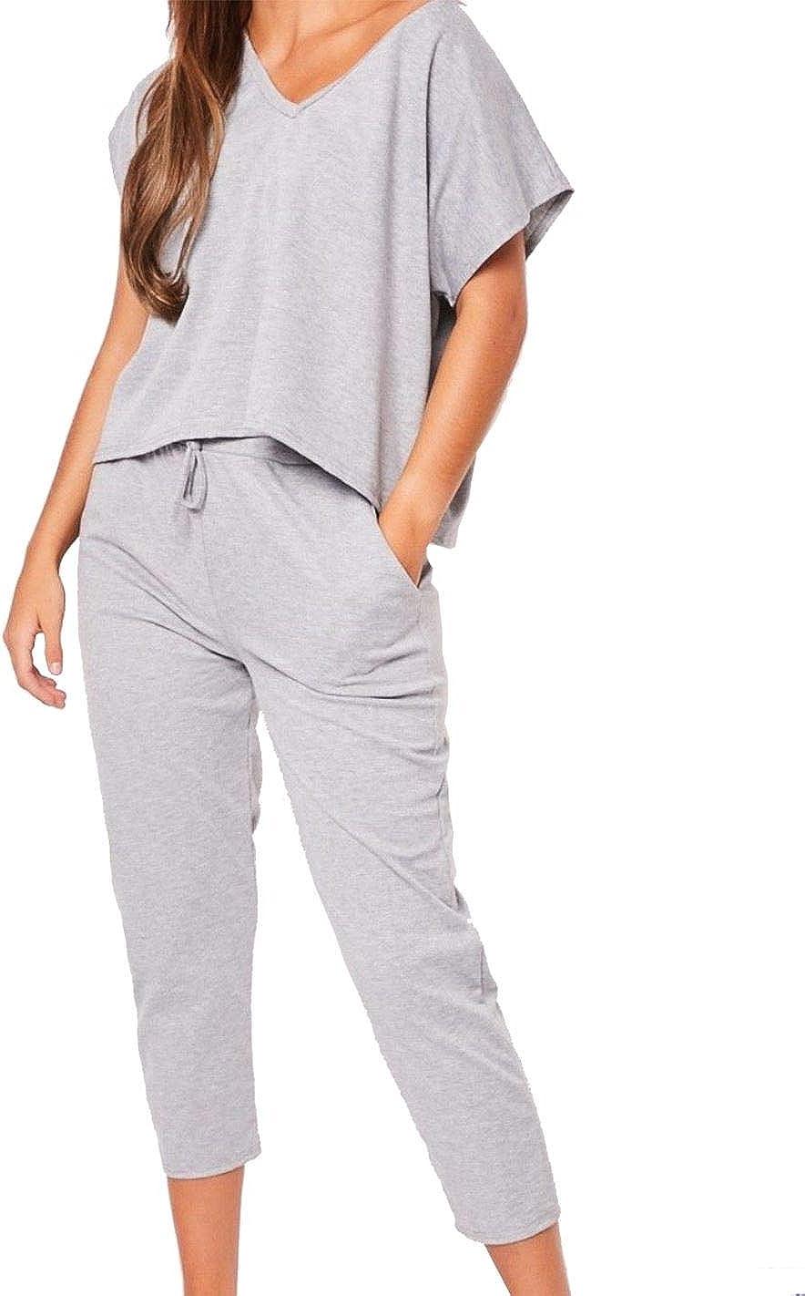 New Women/'s Ladies Plain Lounge Suit Track Casual Top Trouser 2 piece Set 8-26.