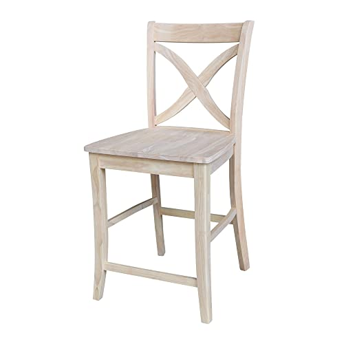 International Concepts Unfinished Vineyard Counter Height Stool, 24-Inch, Brown