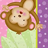 Girl Monkey Baby Shower Cocktail Napkins, 16ct