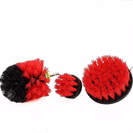 Sacow Drill Brush, 3Pcs Grout Bathroom Cleaning Scrub Brush Kit (Red