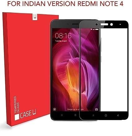half off 712c7 3a447 CASE U Xiaomi Redmi Note 4 Full Coverage Tempered Glass Screen Protector  (Black)