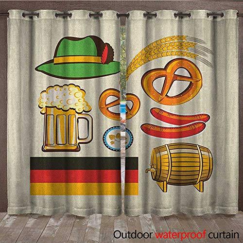 BlountDecor German Outdoor Waterproof Curtain Oktoberfest Symbols Wheat Sausage Beer and Pretzels Colorful Bavarian ArrangementW120 x L108 Multicolor