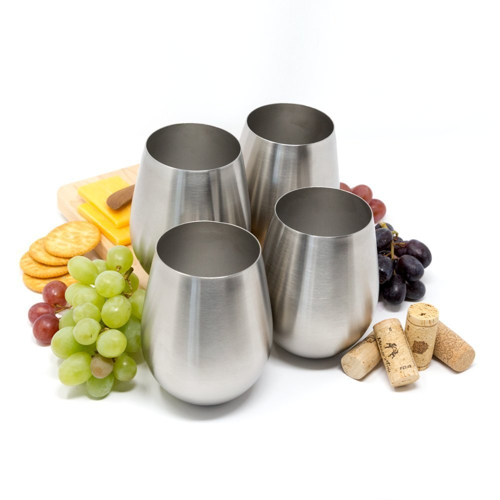 Stainless Steel Stemless Wine Tumblers, Stainless Steel Stemless Wine Glasses, Set of 4, 18 Oz Tumblers, Dishwasher Safe, Unbreakable, Shatterproof Stainless Steel