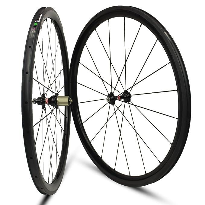 Yuanan - Rueda de Carbono DE 38 mm de Profundidad para Bicicleta de Carretera 700C: Amazon.es: Deportes y aire libre