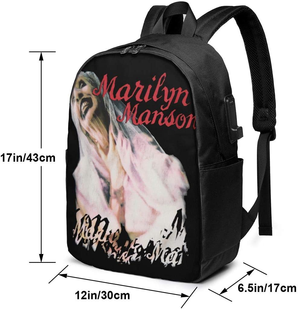 Laptop Backpack with USB Charging Port 17-inch Backpack Marilyn Manson Backpack
