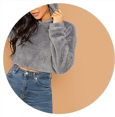 Fashione Grey Minimalist Solid Drop Shoulder Crop Teddy Hoodie Sweatshirt Autumn