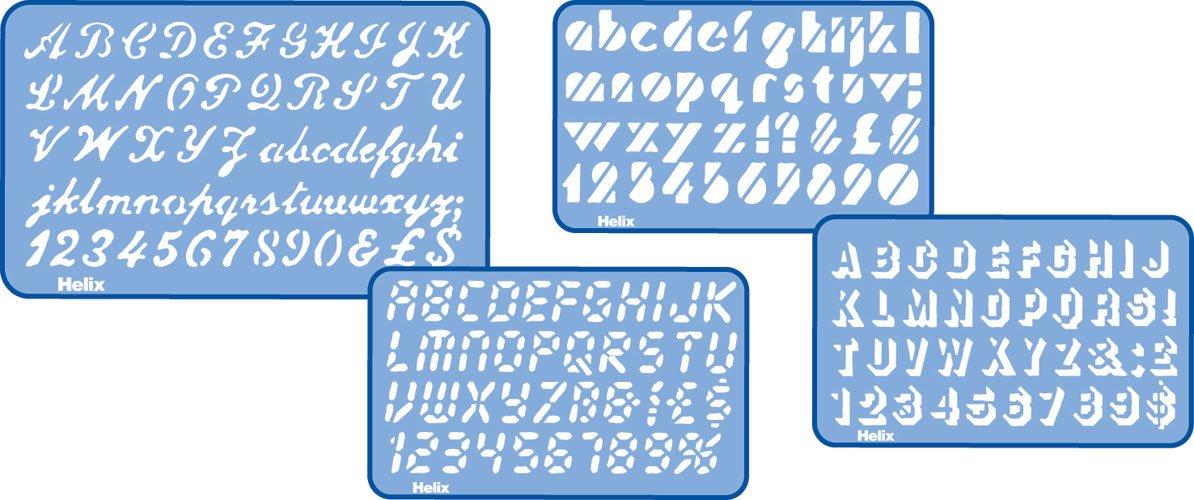 Helix H23100, stencil lettere in corsivo, 20 mm H70020