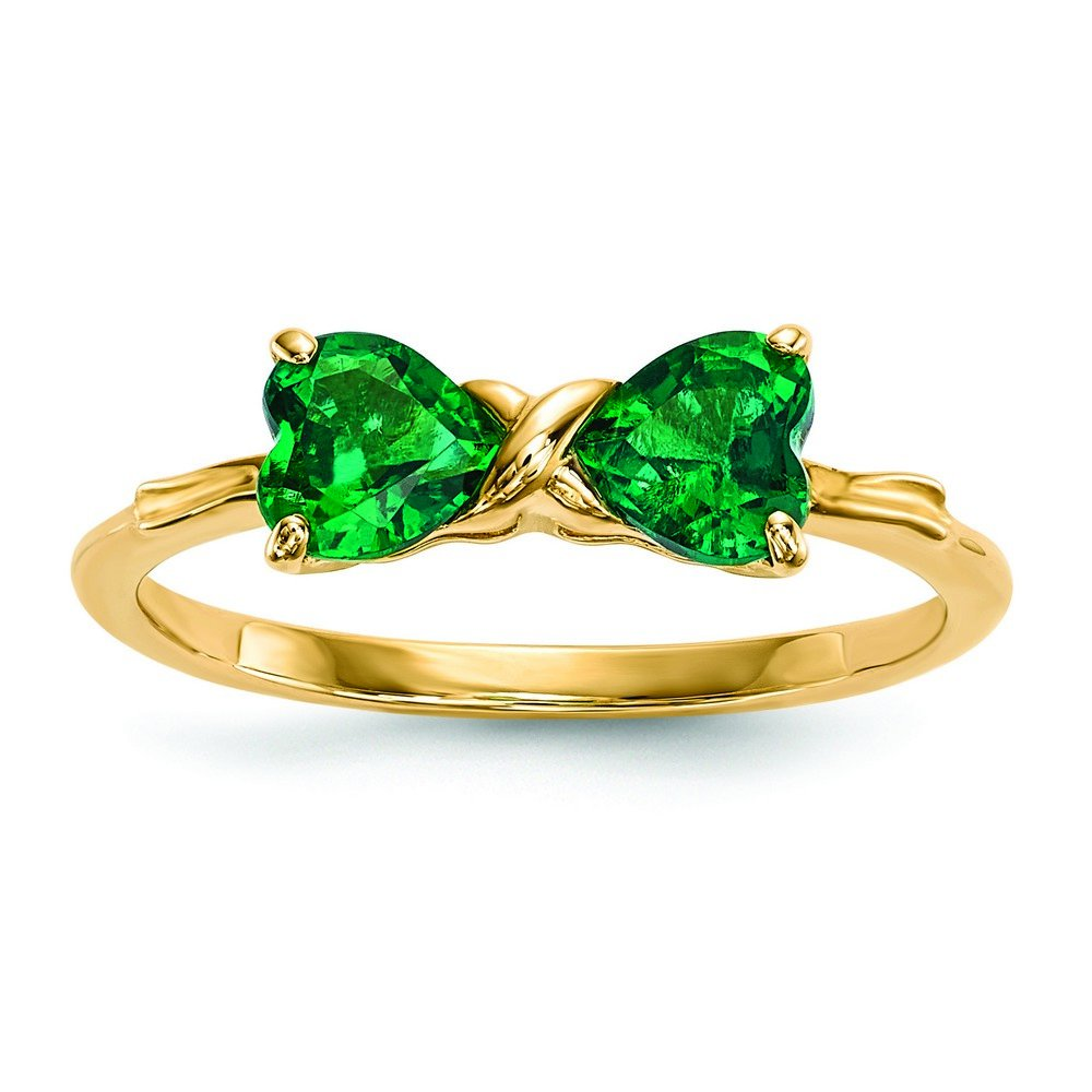 14k Gold Polished Created Emerald Bow Ring