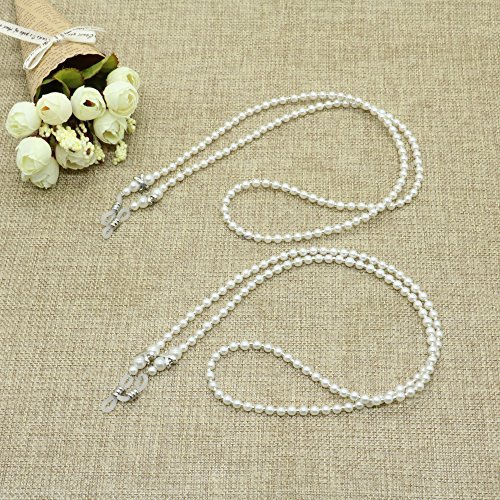 2PCS Pearl Beaded Eyeglass Chain Sunglass Holder Strap Lanyard Necklace By IDS,White