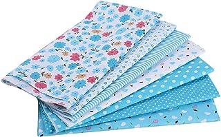 Cysincos 7PCS Tissu Carré Mixtes Bleu Marine Bricolage Patchwork Coupon DIY Artisanat Quilting Textile Artisanat Bundle Écologique Couture Scrapbooking Loisir Créatifs 50 * 50CM