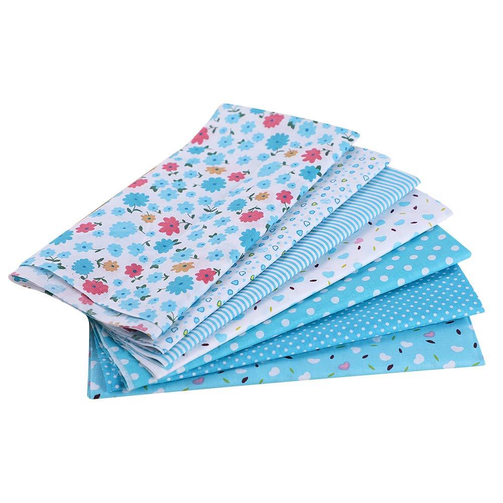 Cysincos 7PCS Tissu Carré Vert en Coton Bricolage Patchwork Mixtes Coupon DIY Artisanat Quilting Textile Artisanat Bundle Écologique Couture Scrapbooking Loisir Créatifs 50 * 50CM