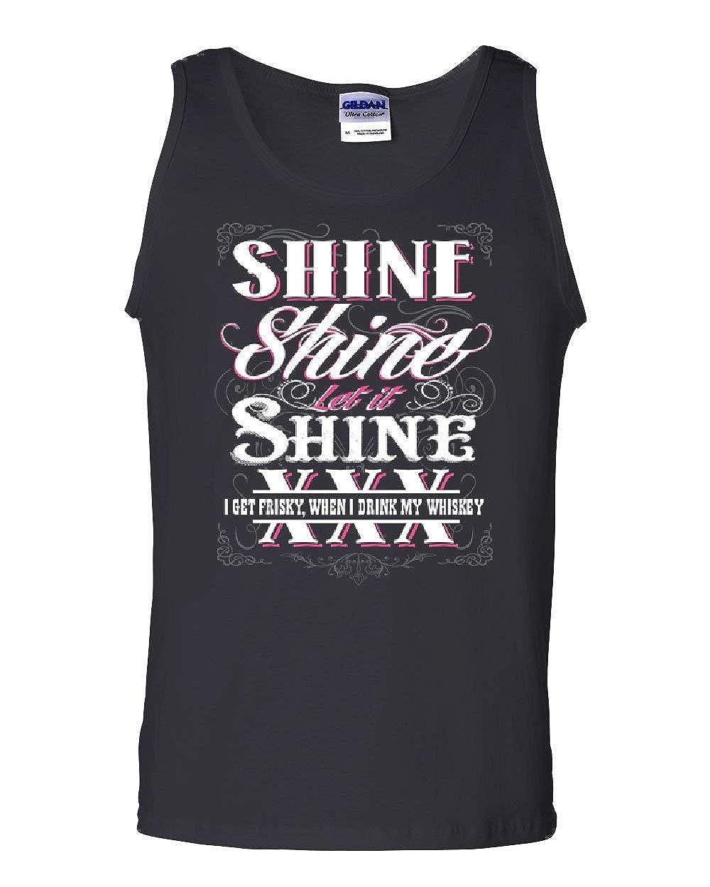 Tee Hunt Let It Shine Tank Top Moonshine XXX Booze Liquor Whiskey Southern Sleeveless
