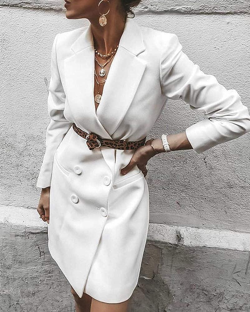 Romose Women Blazer Dress Elegant Long Sleeve V-Neck Double Breasted Solid Dress Business Office Jackets Button Suit Coat