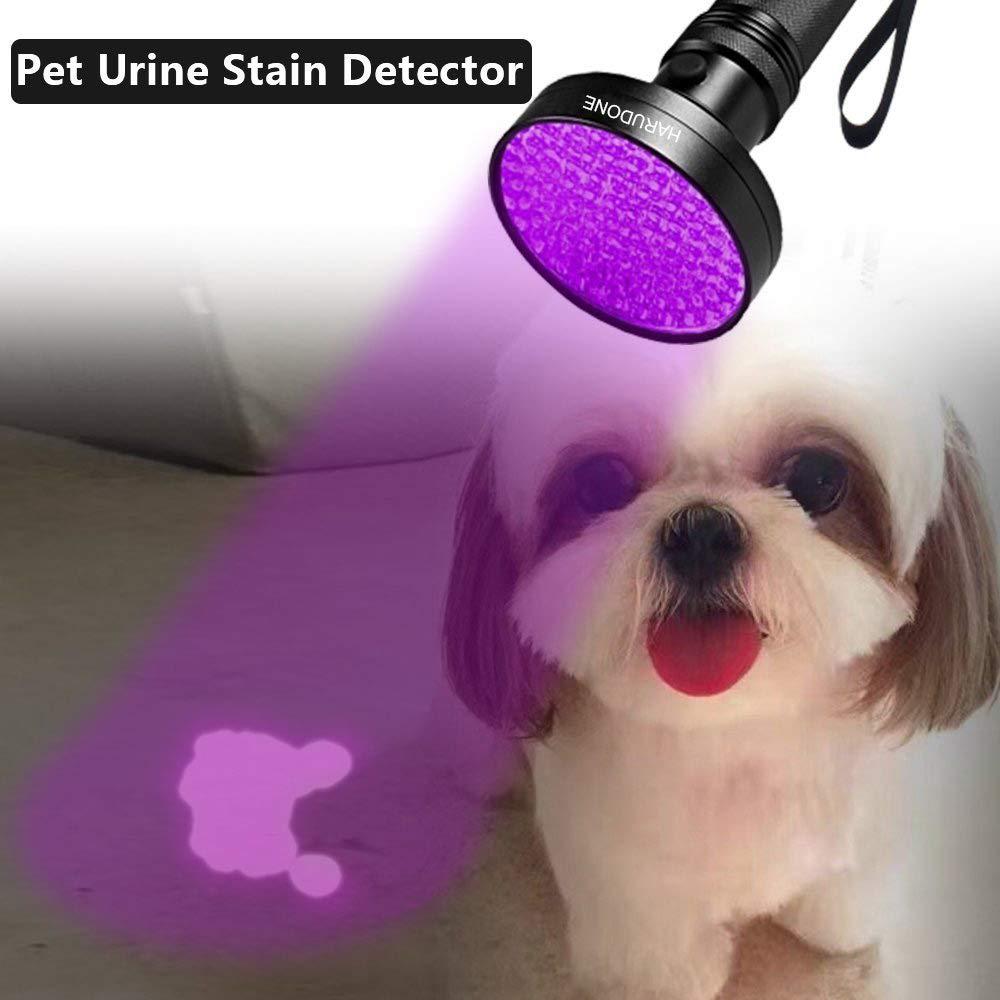 ONIPU Linterna UV, Super Brillante 100 LED UV Negro Luces Linterna 395 NM UV Detector luz para Perro Gato orina, Manchas de Mascotas, bichos de Cama, ...