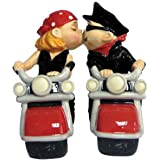 Westland Giftware Mwah Magnetic Biker Couple Salt and Pepper Shaker Set, 4-1/2-Inch