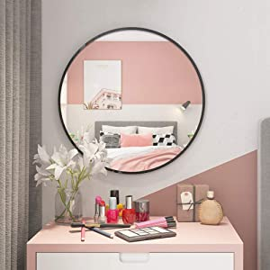 QEQRUG 30 Inch Round Wall Mirror Black Framed Mirrors for Wall, Classic Black Matte Metal Circle Mirror for Bathroom/Bedroom/Living Room