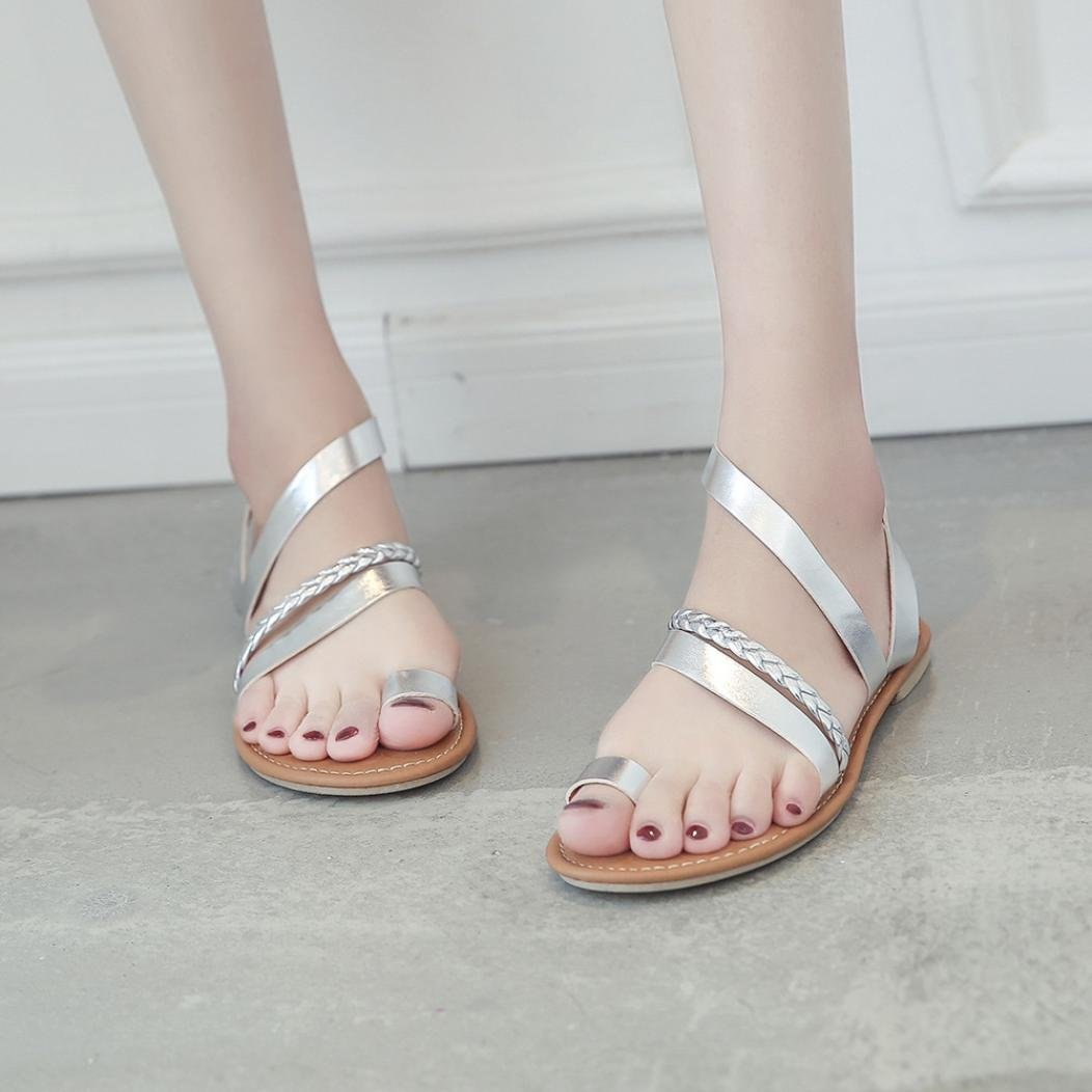 Women Flats Sandals Low Heel Beach Shoes Slippers Strappy Gladiator Flip Flops Sandals (US:8, Silver)
