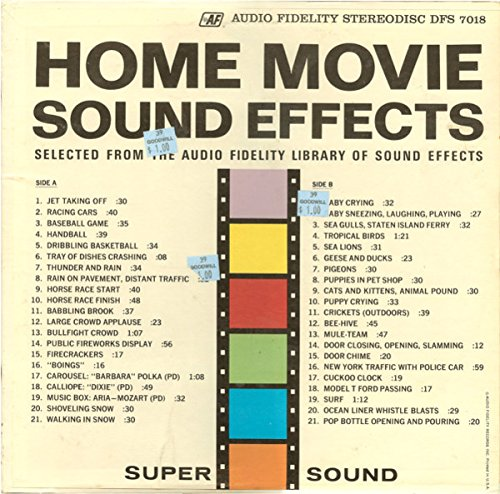 Home Video Sound Effects: Tracklist: Jet Taking Off, Racing Cars, Baseball Game, Handball, Dribbling Basketball, Tray Of Dishes Crashing, Thunder And Rain, Rain On Pavement, Distant Traffic and Much More.