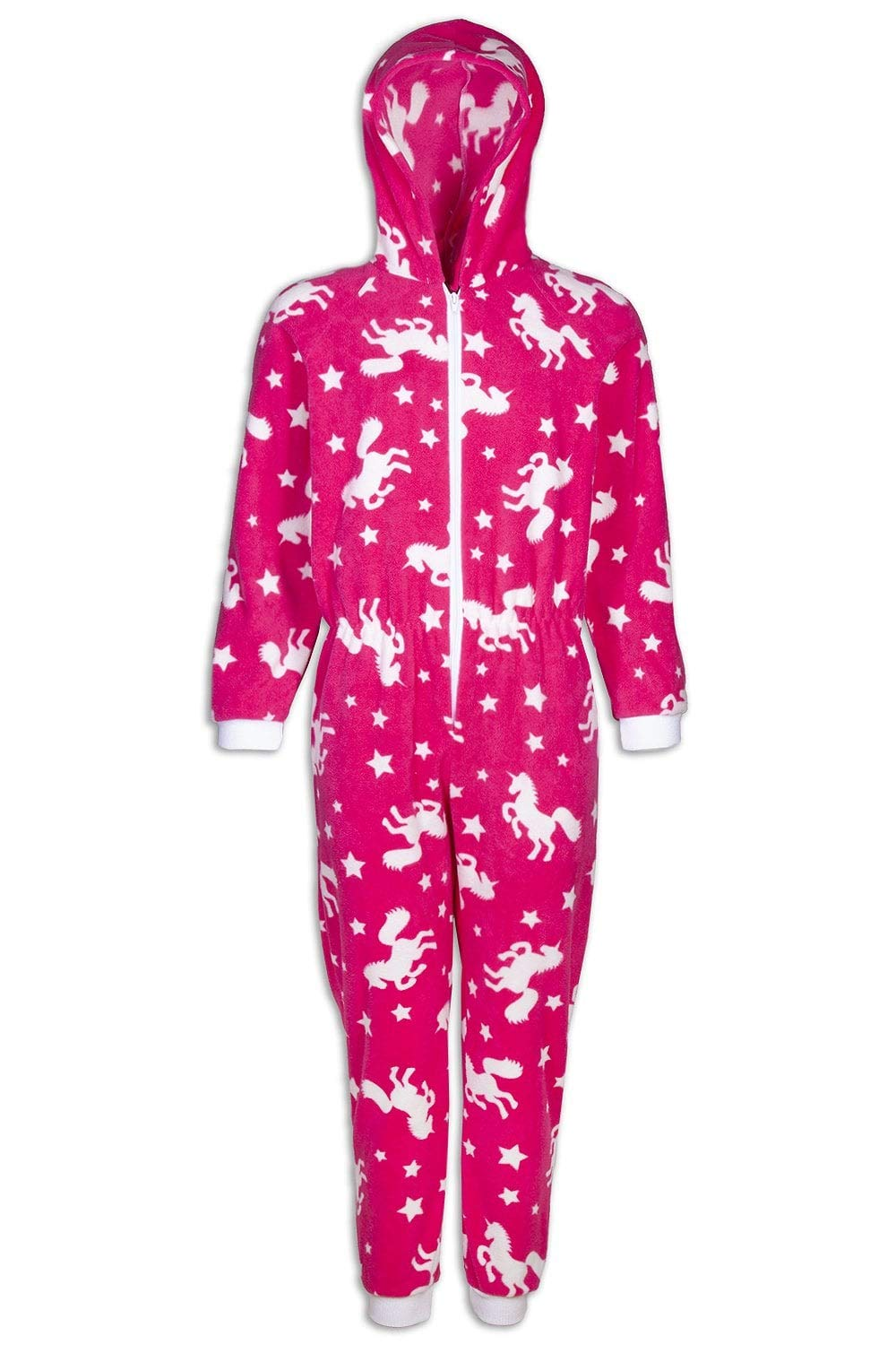 Camille Childrens Pink Unicorn Print Fleece All in One Pyjama Onesie