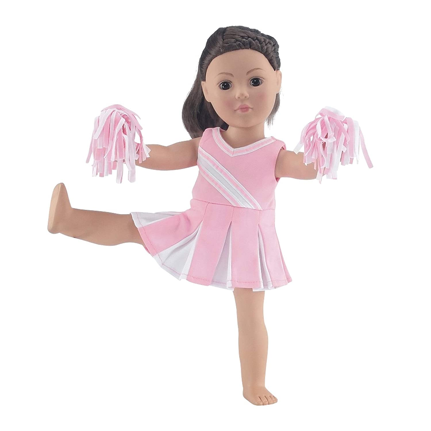 Doll Clothes Fit American Girl Doll - Pink Cheerleader Outfit - 18 Inch Clothing with 18' Accessories Emily Rose Doll Clothes