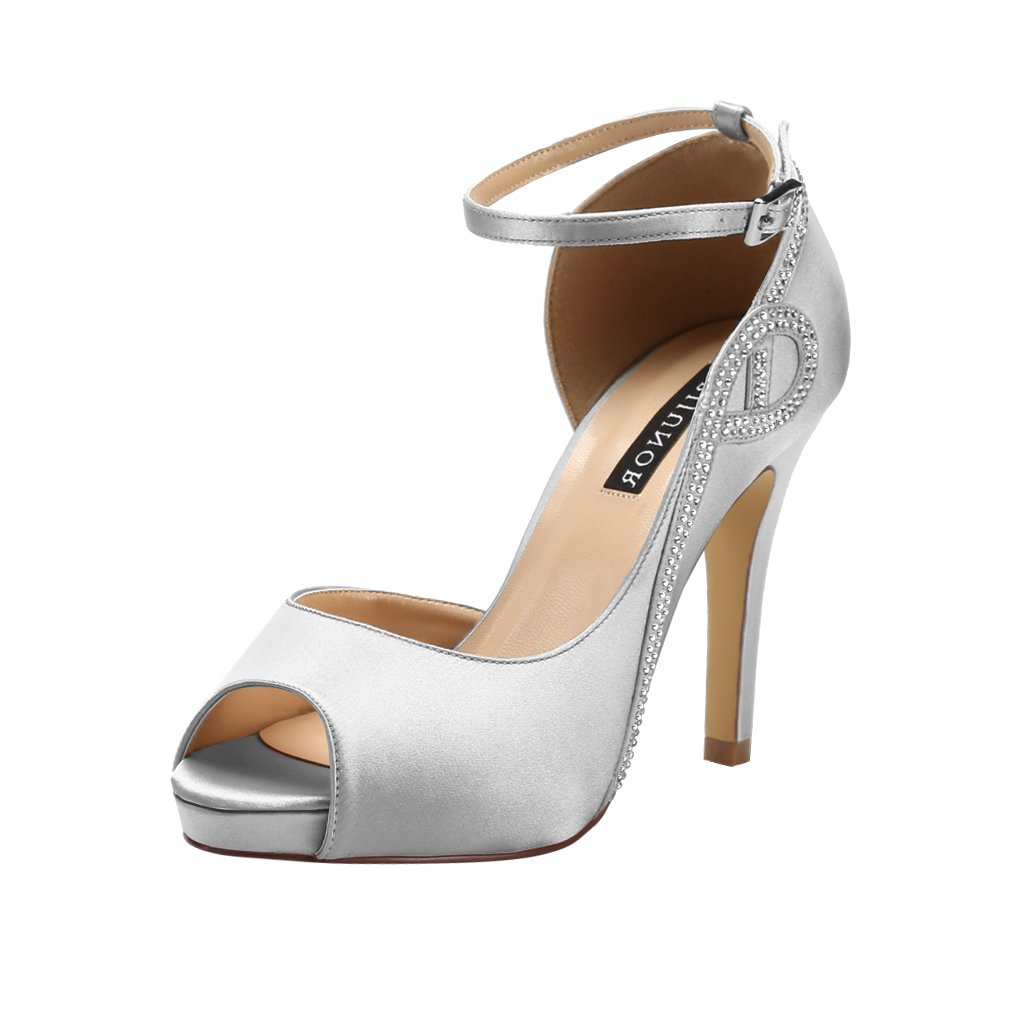 ERIJUNOR E8816 Women Peep Toe Side Open Rhinestones Comfortable Platform Satin Bridal Wedding Party Shoes Silver Size 7