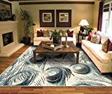 Luxury Peacock Ivory Area Rugs for Living Room 5×7 Clearance Prime Rugs