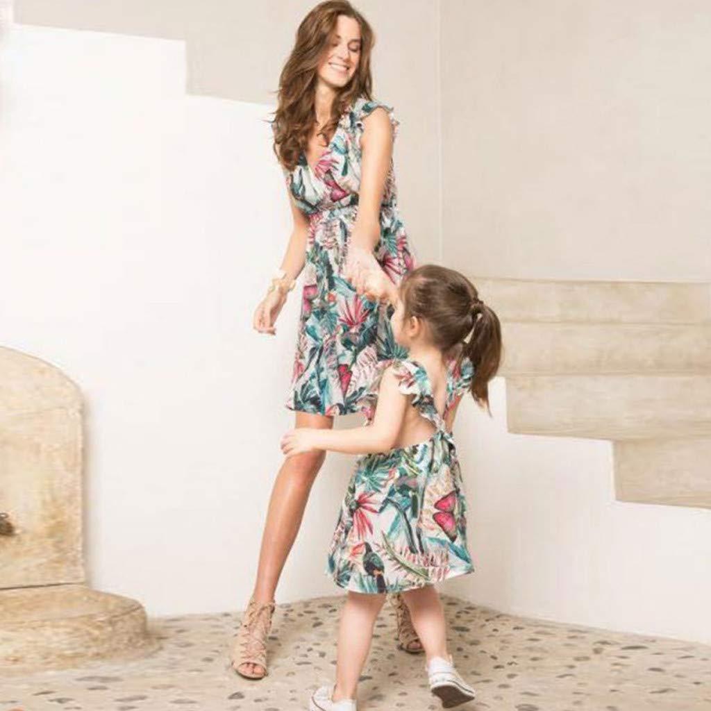 DAY8 Abiti Mamma e Figlia Abbigliamento Elegante Vestiti Mamma e Figlia Uguali Estivi Abiti Famiglia Coordinati Vestito Mamma Moda Bambina Ragazza Casual Spiaggia Partito Mini Vestito