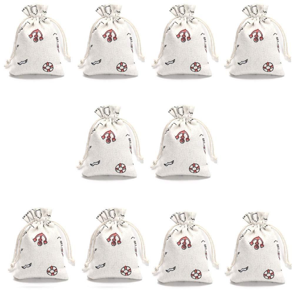 Jonsnowo コットン&リネン 再利用可能な食料品バッグ Mサイズ 5.5×4インチ オーガニックコットンバッグ 10個 B07PYP4LMM