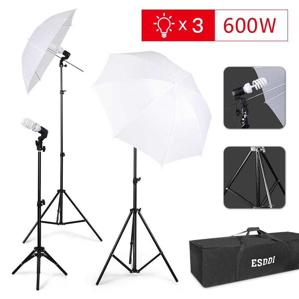 ESDDI Photography Umbrella Lighting Kit 600W 5500K Portable Continuous Day Light Photo Portrait Studio Video Equipment