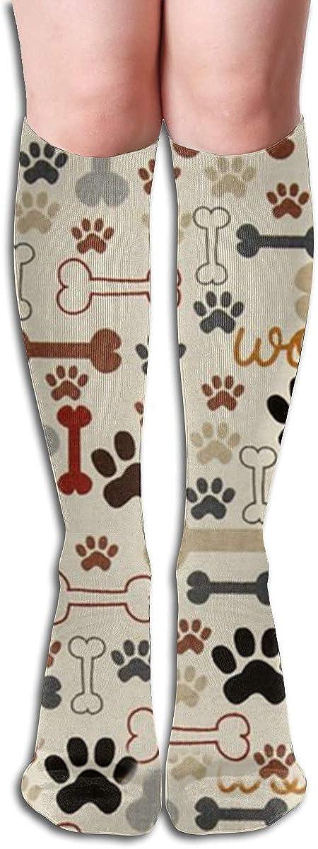 Dog Paw Print And Bone Compression Socks For Women Casual Fashion Crew Socks