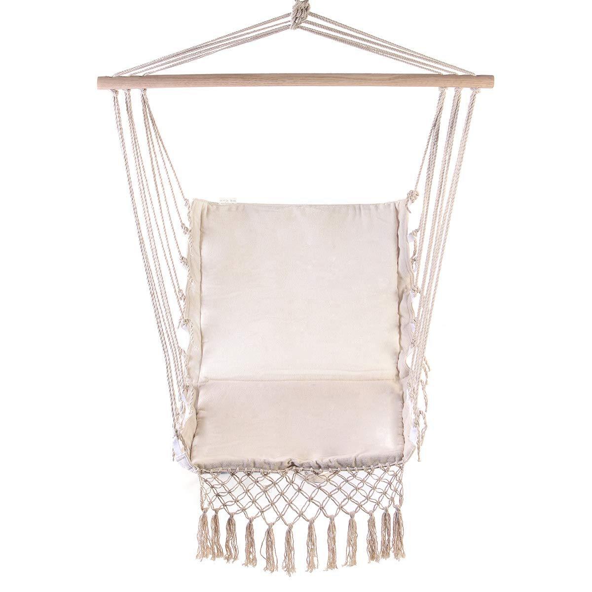 Amazon.com : Romantic Fringed Macrame Swing Chair Hanging Rope Chair Seat for Outdoor Indoor Garden Dormitory Bedroom Hanging Chair for Child Adult Swinging ...