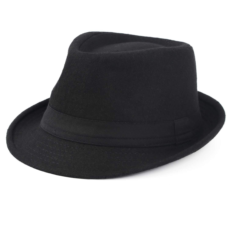 Melesh Unisex Classic Trilby Fedora Hat (Black) by Melesh (Image #4)