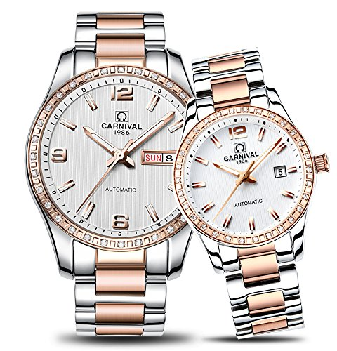 CARNIVAL Couple Watches Men and Women Automatic Mechanical Watch Chic Dress for Her or His Set of 2 (Rose Gold White) by Carnival