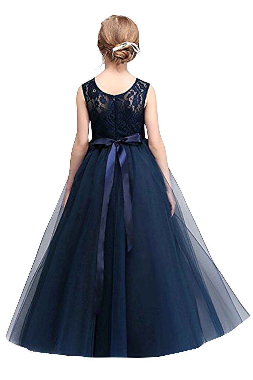 Mädchen Prinzessin Tüll Spitzen Kleid Festlich Blumenmädchenkleid Hochzeit Abendkleid Gr.120-170