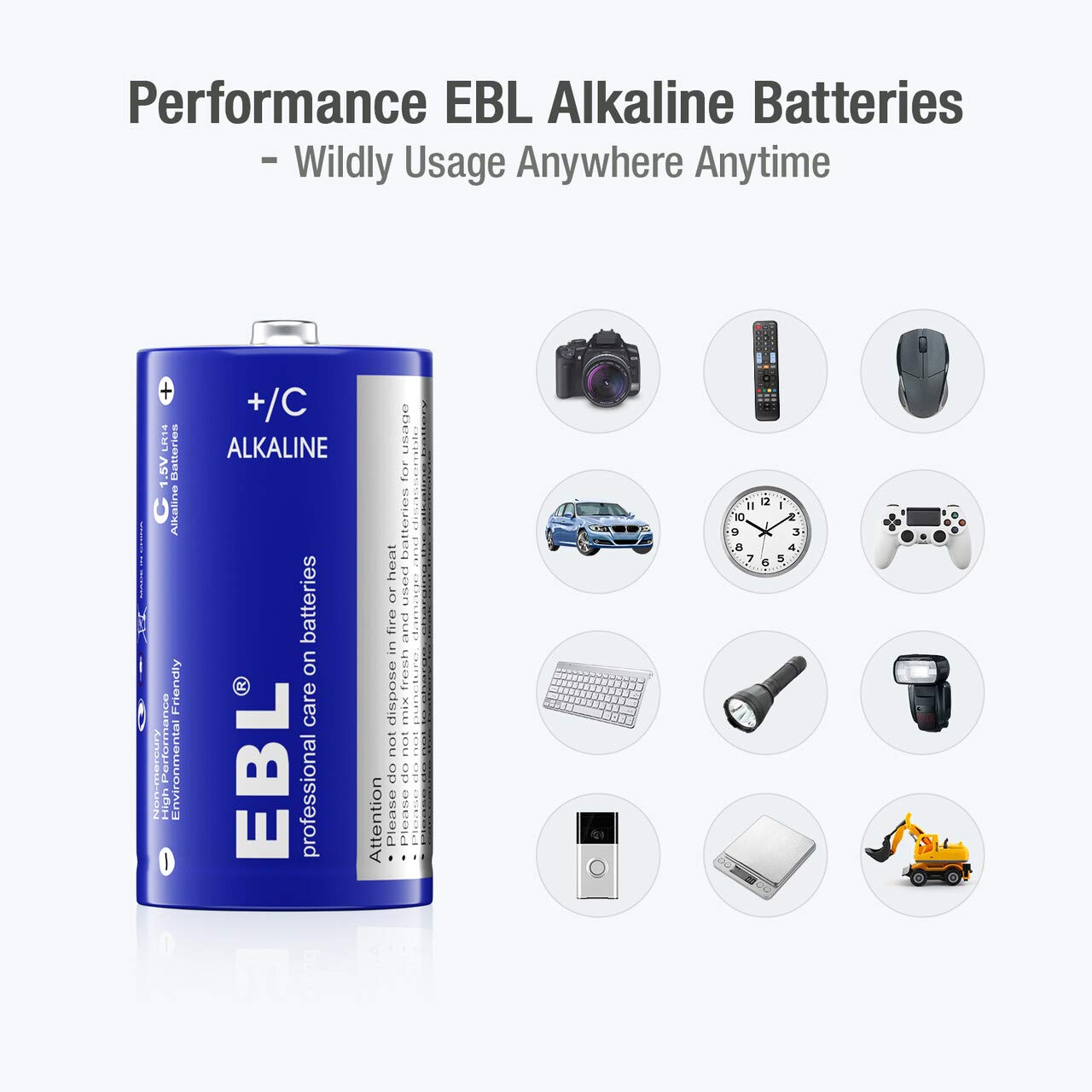 EBL C Batteries Alkaline C Cell Batteries - Alkaline Batteries Durable and Lasting Performance (8 Pack)