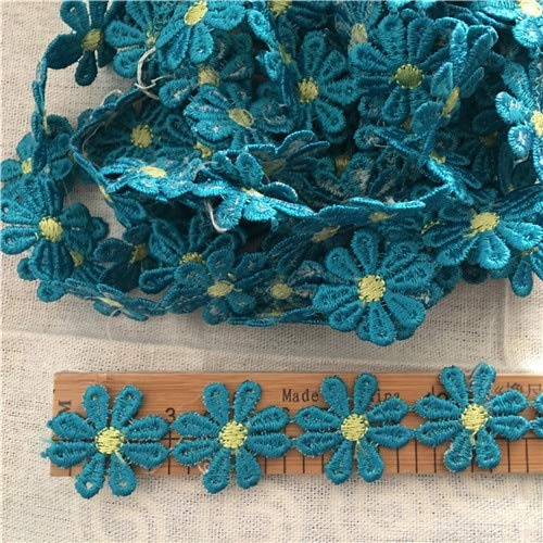 Lace Craft - 1yrd 3cm Embroidered Lace 8-Petal Flower Applique DIY Pink Orange Green Blue 1374 - (Color: ()