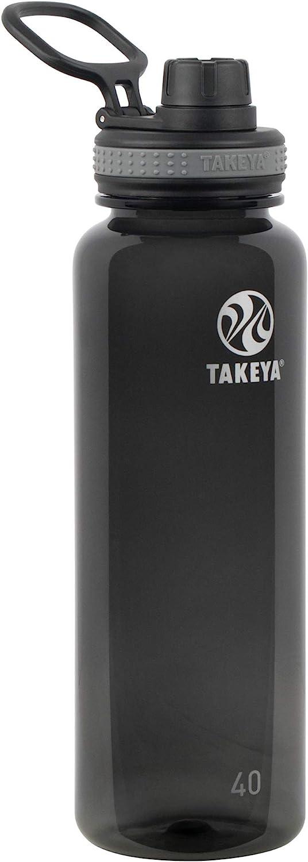 Takeya Tritan Sports Water Bottle with Spout Lid, 40 oz, Black