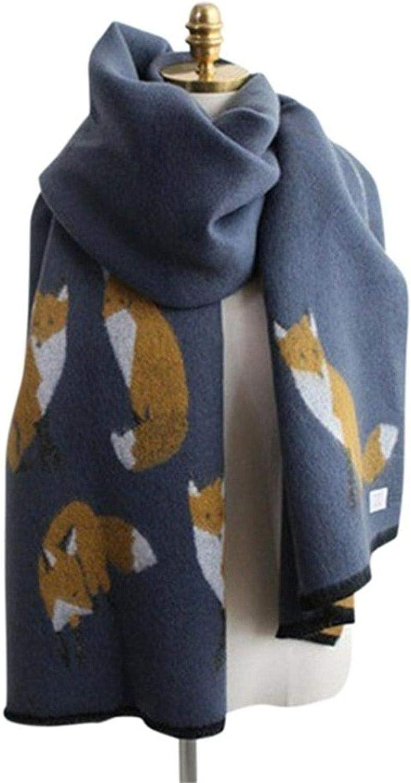Women Winter Warm Cashmere Scarf Fox Printed Thicken Shawl All-match Scarf
