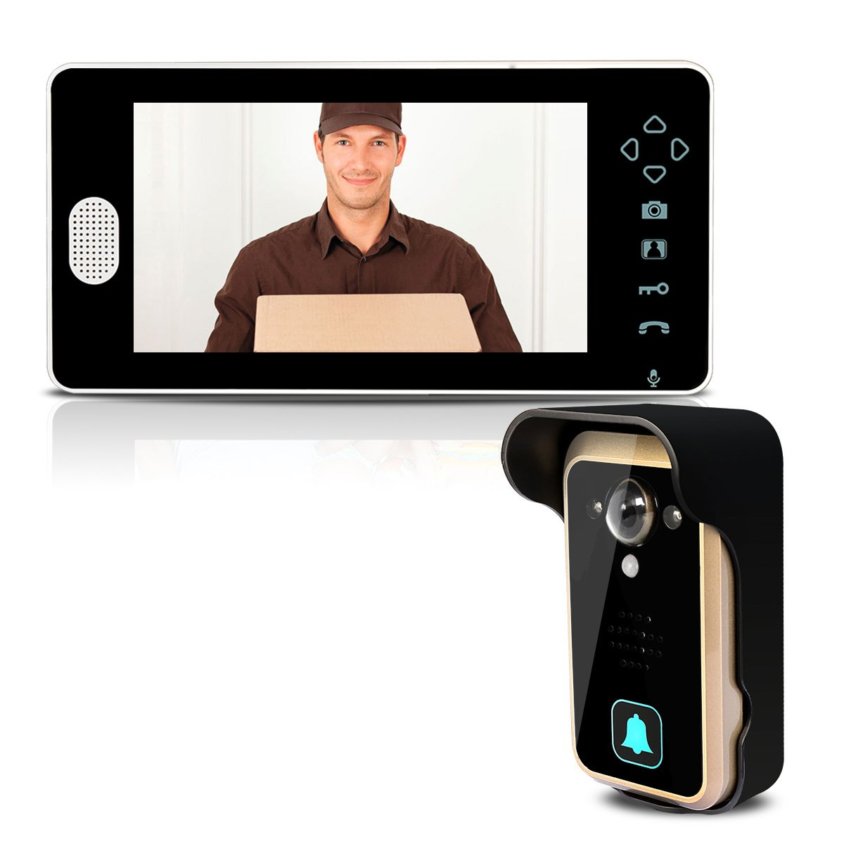 TIVDIO Wireless Door Phone Wireless Video Doorbell Wireless Video Door Intercom with 7 Inch Colorful LCD Monitor with 120 Degrees Wide Angle Clear Night Vision and IP55 Waterproof Outdoor Camera