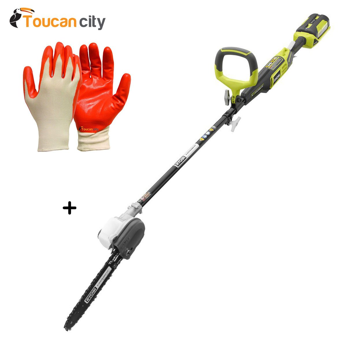Toucan City Ryobi 10 in. 40-Volt Lithium-Ion Cordless Pole Saw - 2.6 Ah Battery and Charger Included RY40561 and Nitrile Dip Gloves(5-Pack)