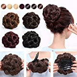 #10: S-noilite Natural Hair Bun Maker Scrunchie Chignon Updo Tress Claw in Ponytail Pony tail Extensions Curly Elastic Bride Synthetic Hairpieces Messy Hair Donut for Women Girls (dark brown)