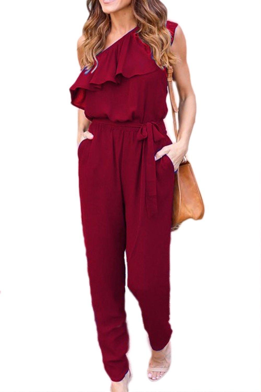 YACUN Women's Loose Chiffon One Shoulder Causal Jumpsuit CADY17608