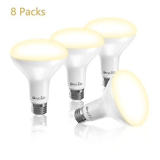 OxyLED Pack de 8 Bombillas LED, BR30 5000K, 9W 810LM, Luz Blanca Natural