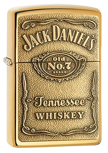 Zippo 254BJD.428 Jack Daniel's Tennessee Whiskey Emblem Pocket Lighter, High Polish Brass