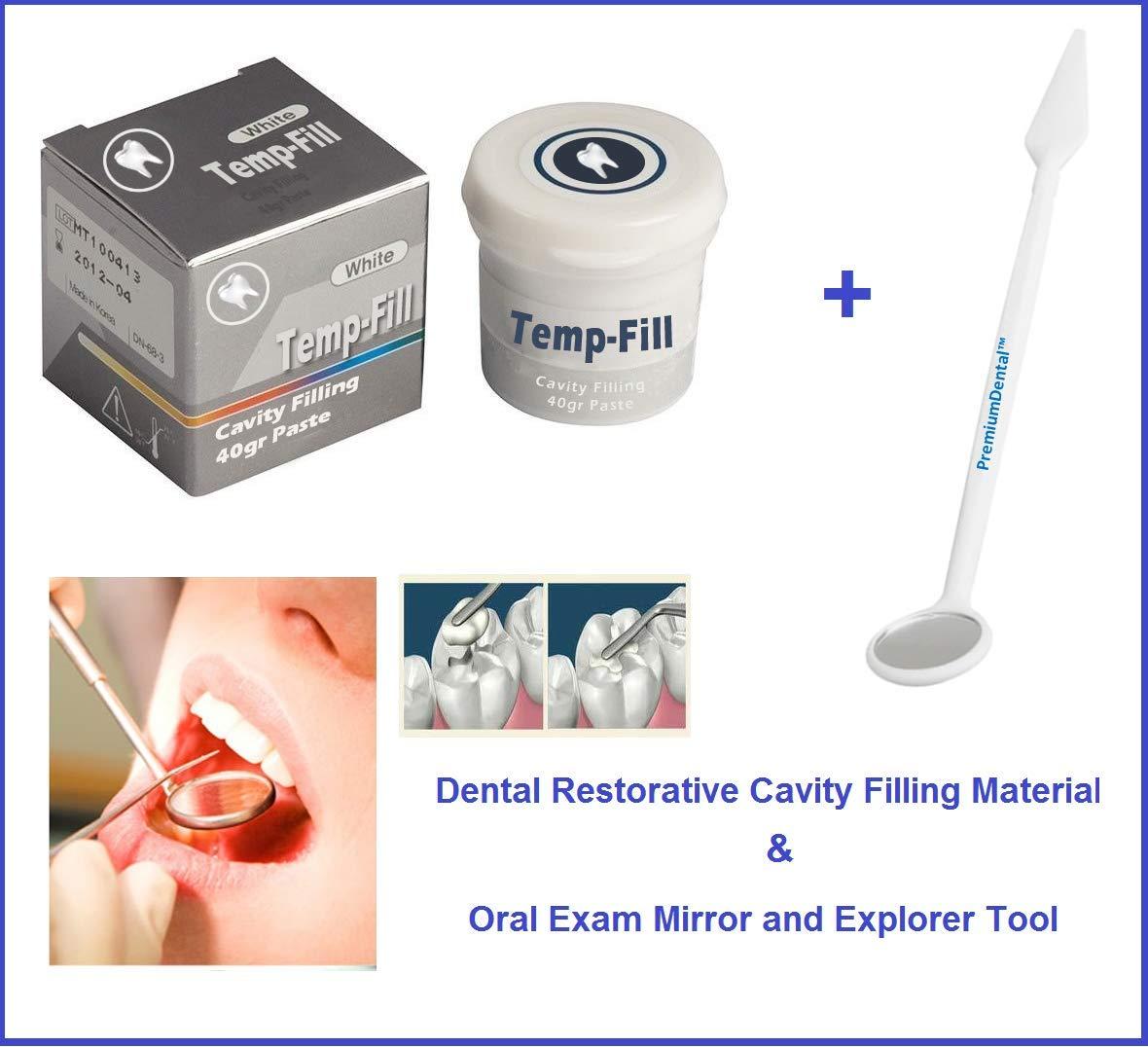 Dental Restorative Cavity Filling Material and Oral Examination Mirror Explorer Tool