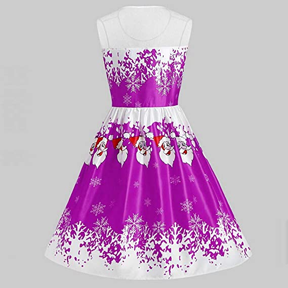 Dacawin_Christmas Dresses Christmas Series Dress-Women Sleeveless Santa Claus Printing Lace Patchwork Vintage Party Dress at Amazon Womens Clothing store: