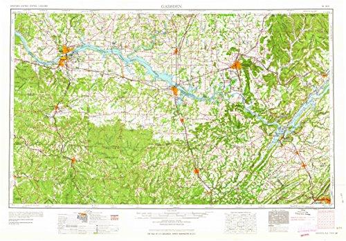 YellowMaps Gadsden AL topo map, 1:250000 Scale, 1 X 2 Degree, Historical, 1963, Updated 1963, 22.1 x 31.7 in - Tyvek