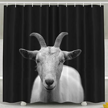 Goat Animal Horns Shower Curtain 60 X 72 Inch Mildew Resistant Antibacterial Odorless
