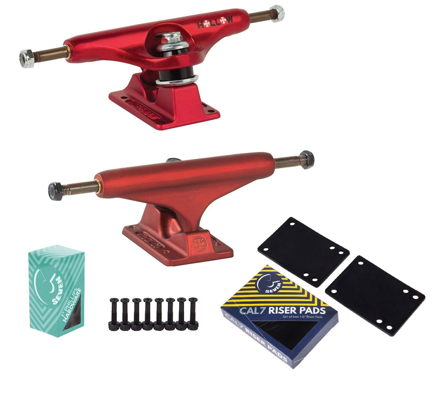 Independent Forged Hallow Ano Red Skateboard Trucks with 1 Hardware Riser