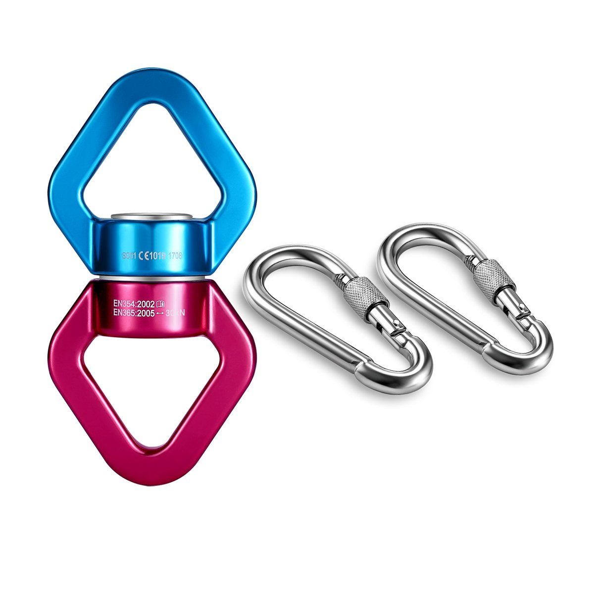 mdairc Safety Rotational Device, Aluminum Alloy Double-Ball Bearing Swivel, Holds Up 8500+ Lbs, Minimum Breaking Strength 40 kN, Spins & Rotates 360° For Smooth Rope Climbing, Hiking & Exercise